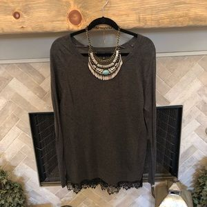 NWT Gray Sweater with black Lace Trim
